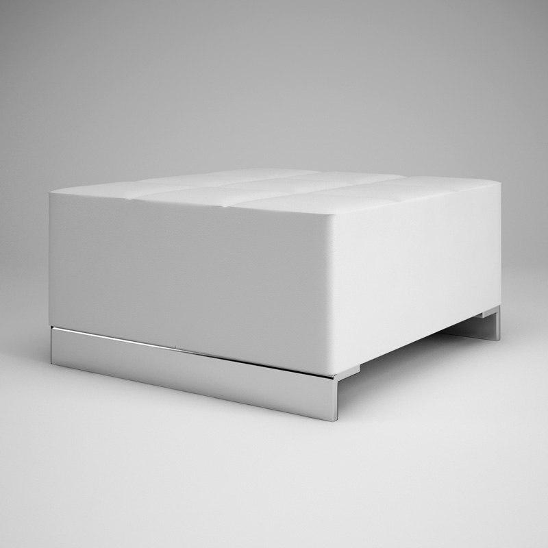 3d cgaxis white pouf 09 model