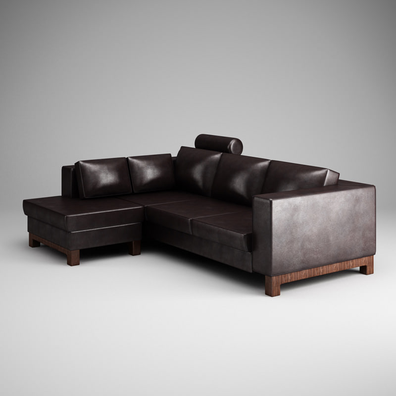 cgaxis dark leather sofa 3d max