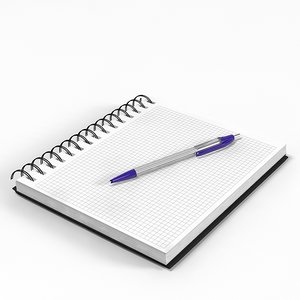 excercise book pen 3d max