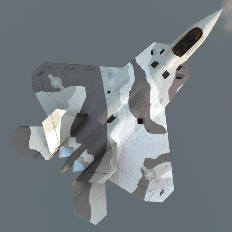 realistic f-22 raptor rigged 3d model