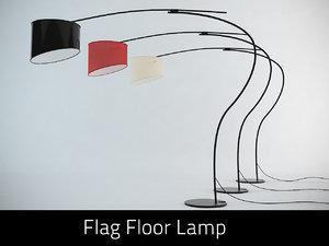 cattelan flag floor lamp 3d obj