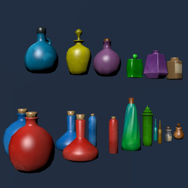 bottles rpg fantasy 3d model