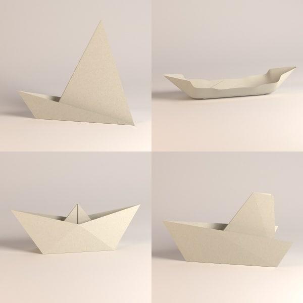 paper boats 3d model