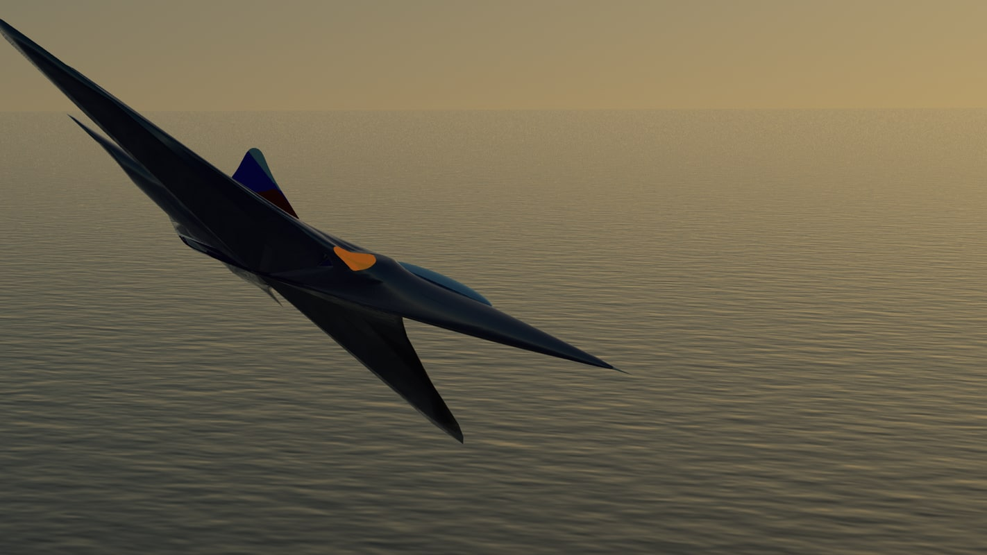 3d model airjet interceptor jet fighter