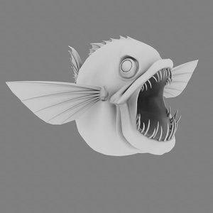 stylized piranha 3d model