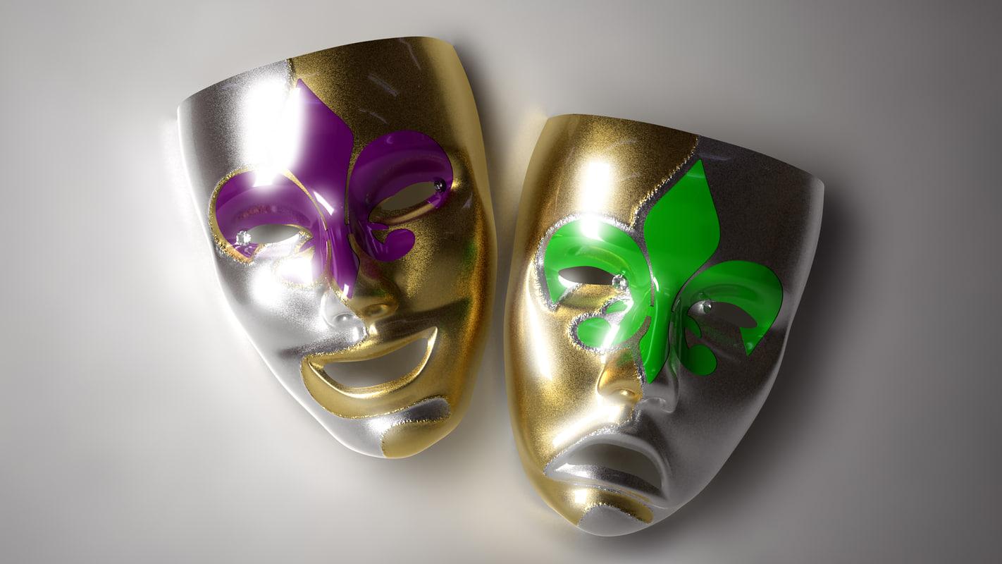 comedy mardi gras masks 3d model