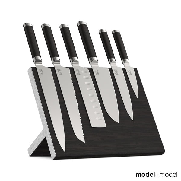 max set knives stand wall