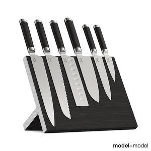 max set knives stand wall