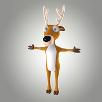 3d cool cartoon christmas deer model