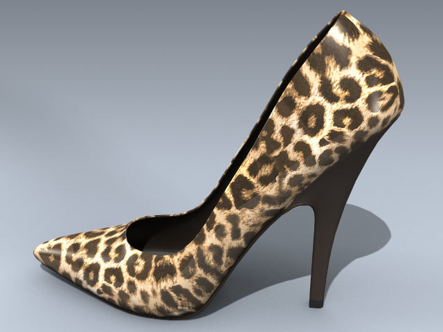 stiletto heel shoe leopard 3d max