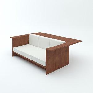 3d model architect john pawson sofa-desk