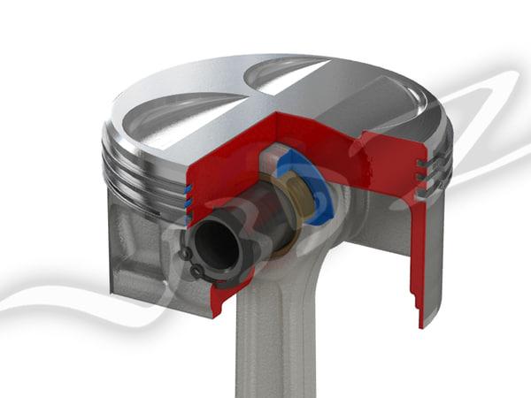 3d model piston cutaway