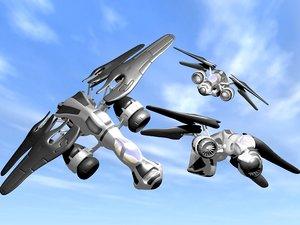 3d model starship ship star