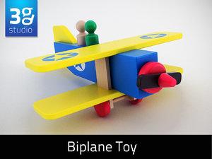 biplane wooden airplane 3d max