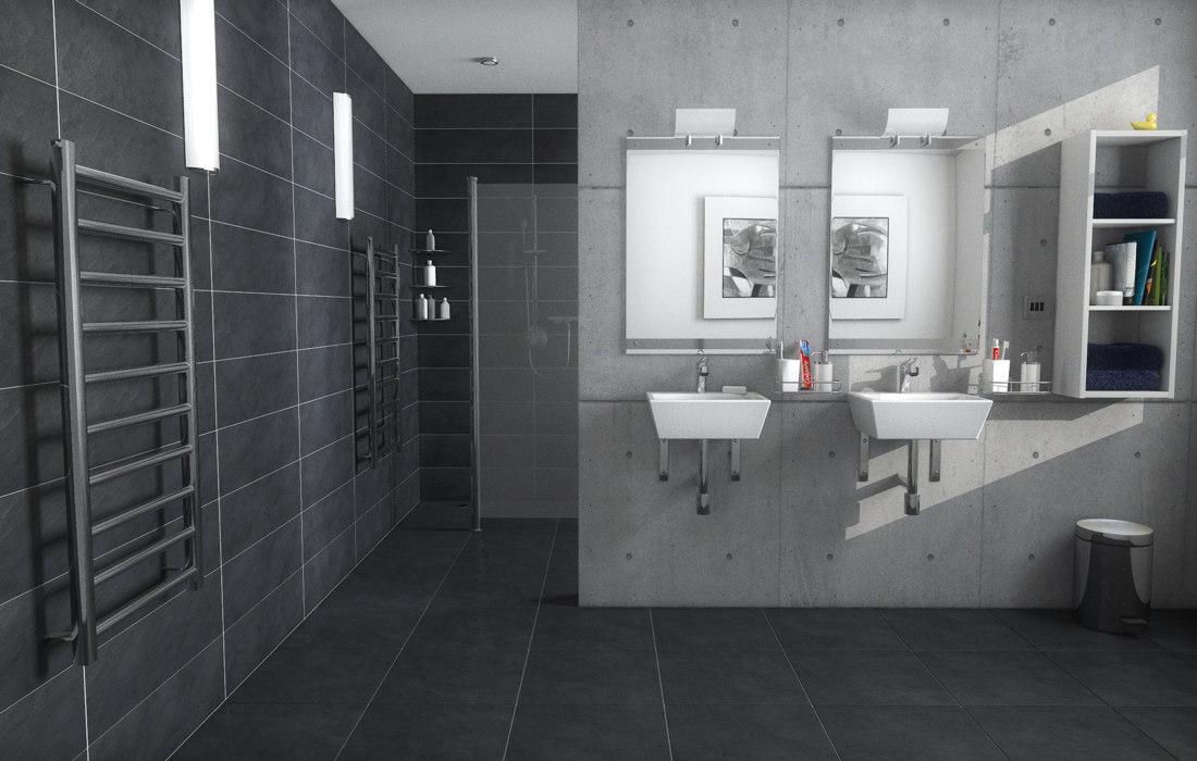 wet-room interior 3d model