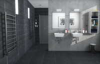 wet-room interior 3d model