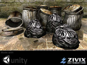 ready garbage bags cans 3d model