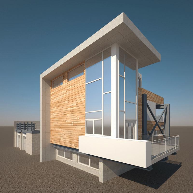 3d realistic modern house v2 model