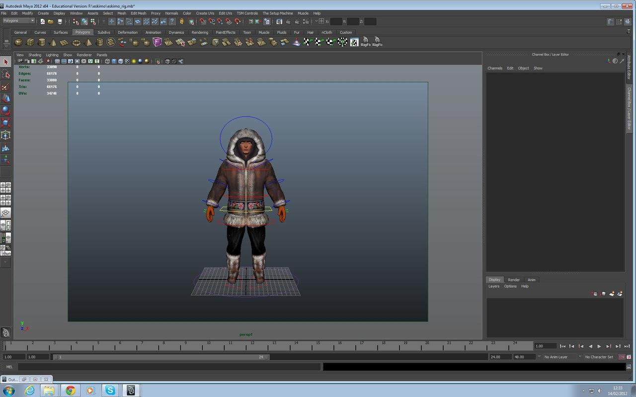 3d eskimo human man