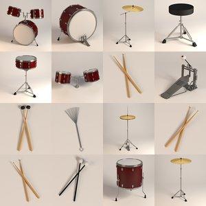 percussion drum 3d 3ds
