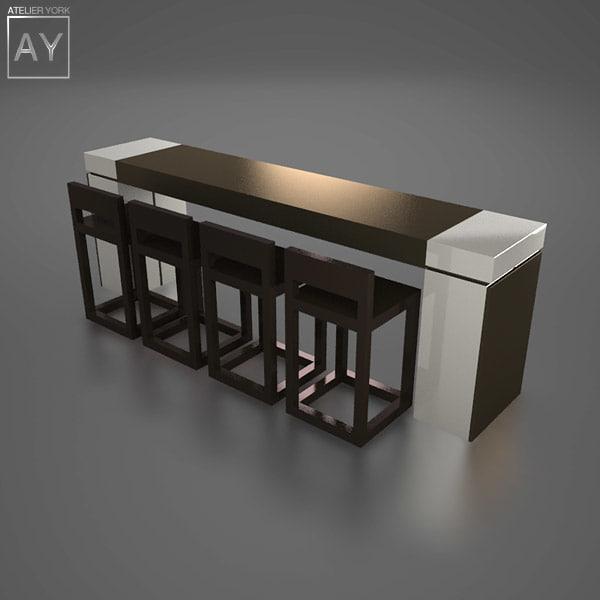 desk bar table stools 3d 3ds