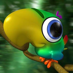 cartoon parrot rigged bird 3d model