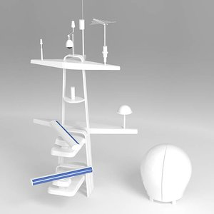 3d model of communication tower yacht