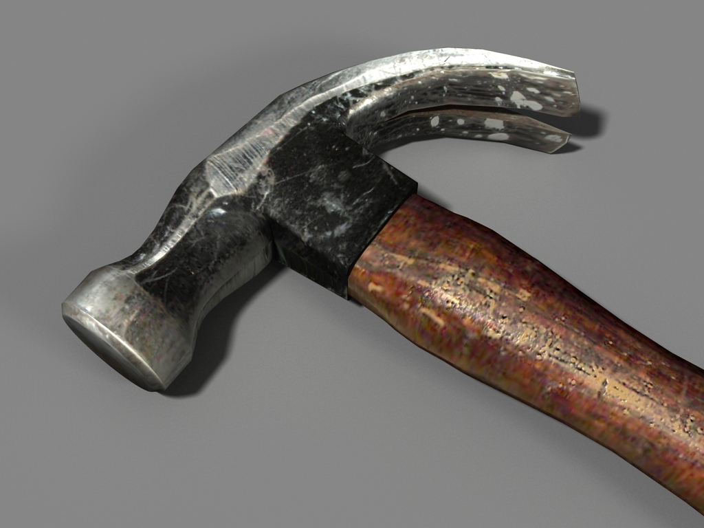 worn old hammer 3d model