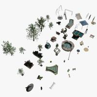3d model park elements