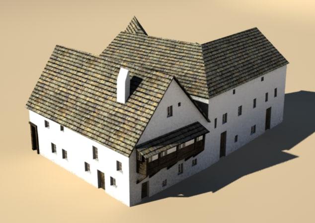 3d model medieval house block