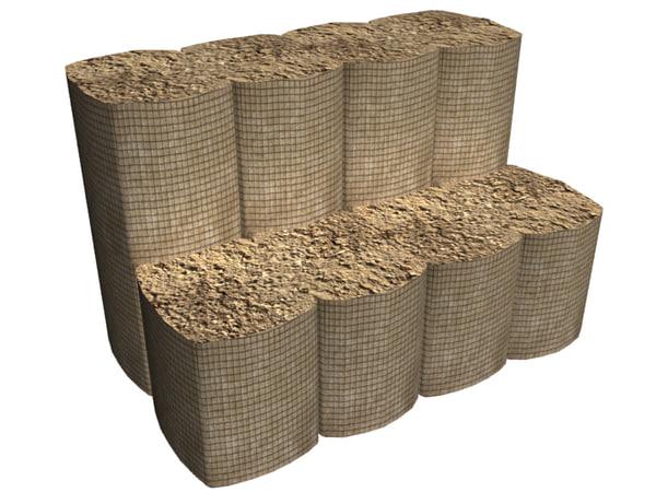 3d model sandbags barrier
