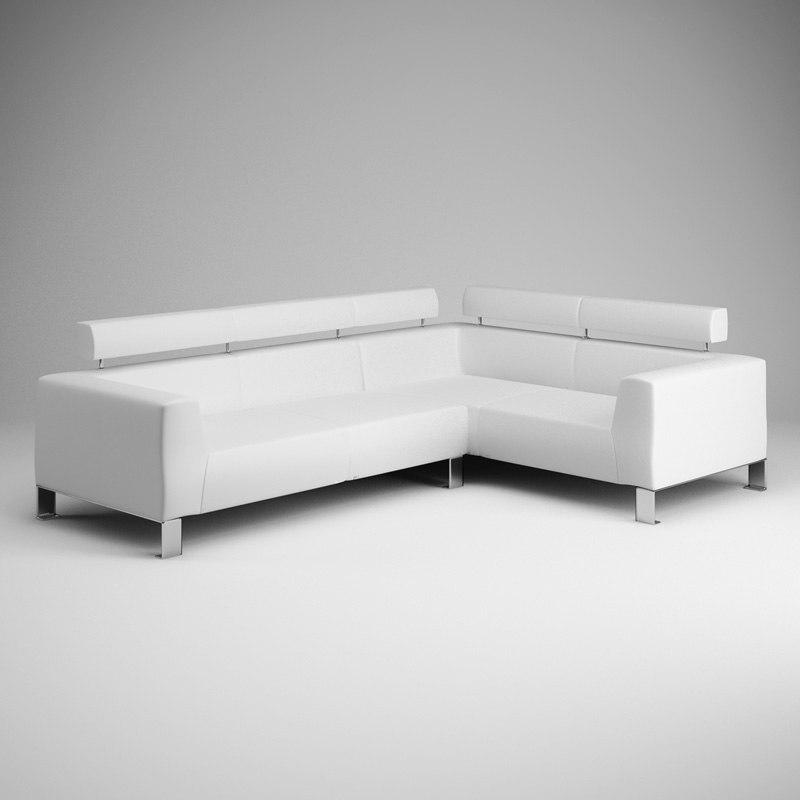 3d white leather sofa 04 model