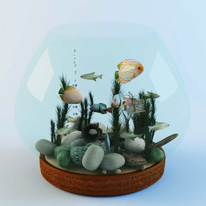 3ds max fish aquarium