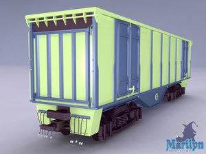 railway wagon cargo 3d max