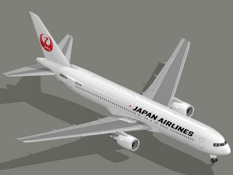 boeing 767-300 er jal 3d model