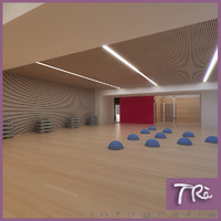 aerobic spinning gym room 3d model
