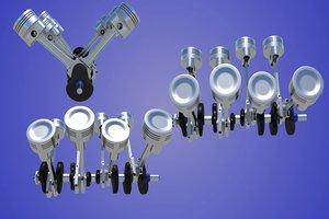 3d model of v8 engine cylinders