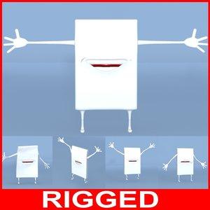 3d cartoon gum rigged
