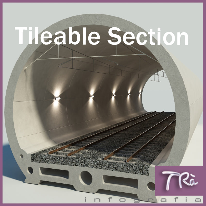 3d railway tunnel section
