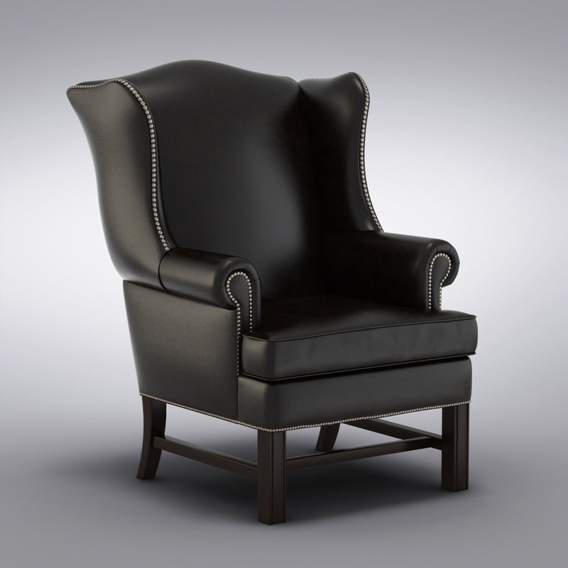 Pottery Barn   Thatcher Leather Wingback Chair Pottery Barn