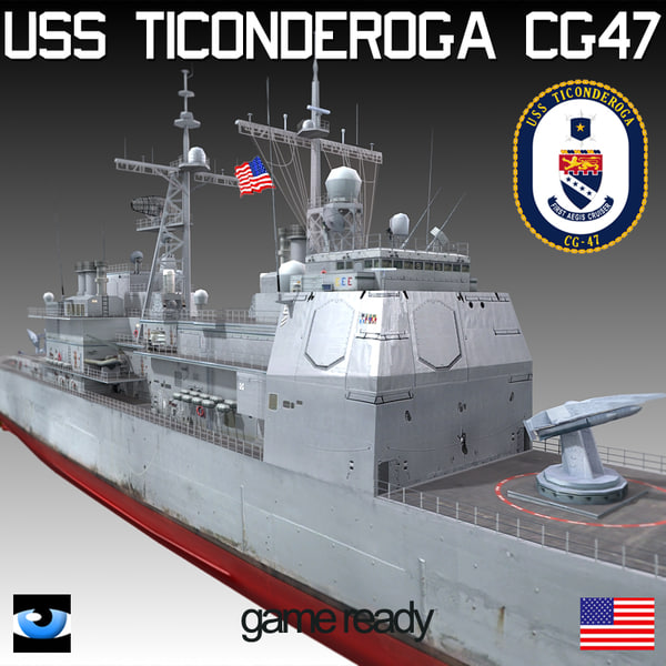 3d model uss ticonderoga class cg