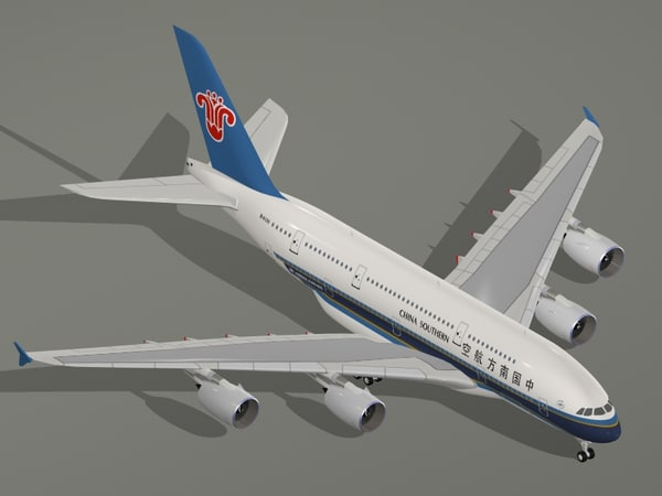 3d airbus a380-800 china southern model