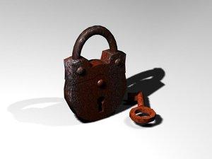 3d model padlock lock