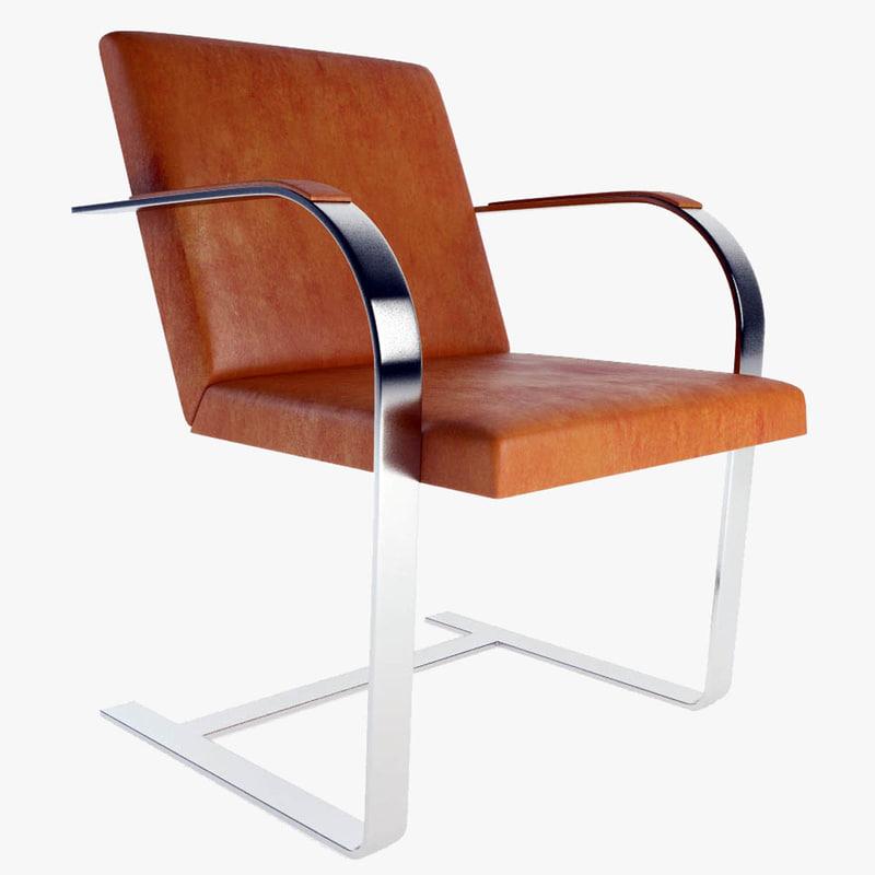 3d knoll brno flat bar chair model