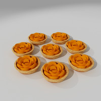 3d peach pastry pies model
