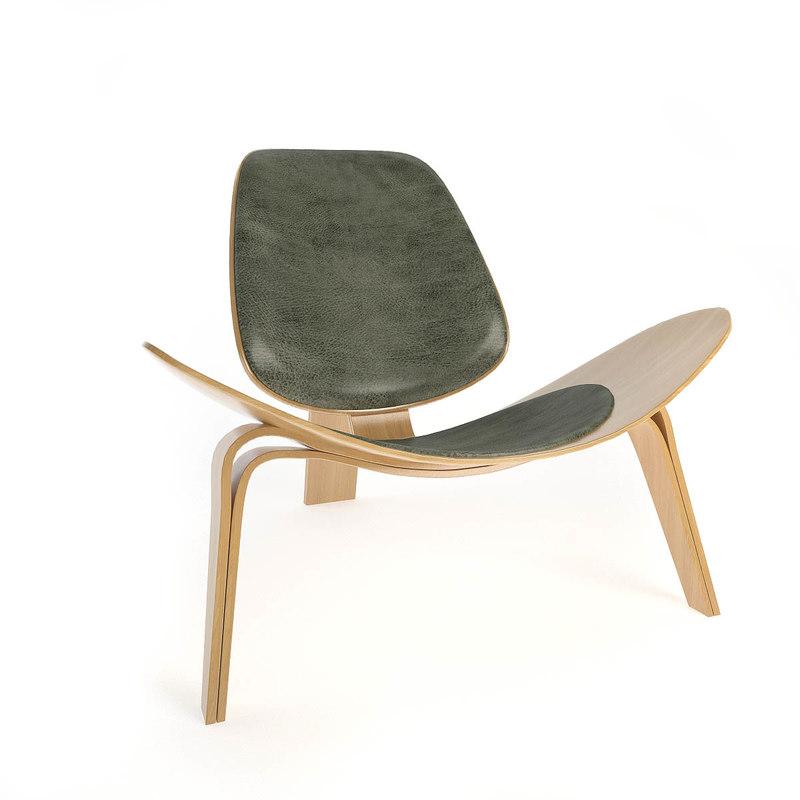 shell chair carl hansen 3d max