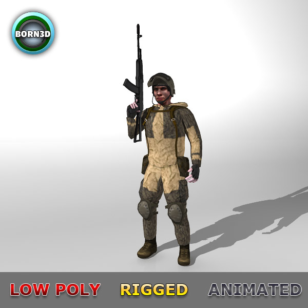 3d soldier ready
