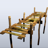 wooden dock 3d obj