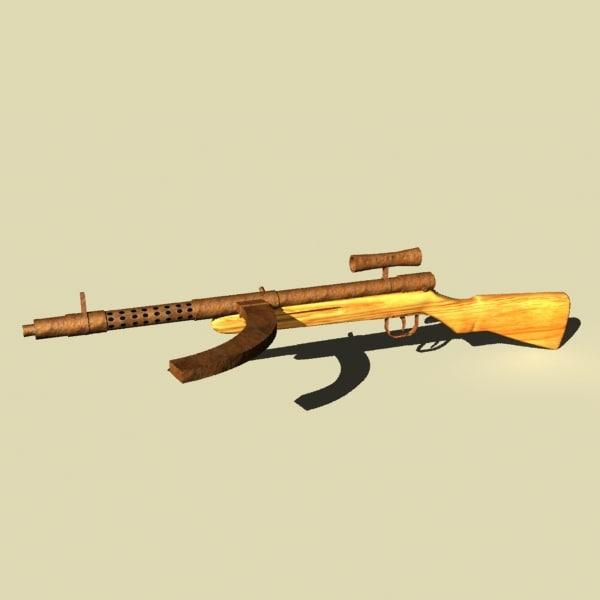 3d model of type 100 guns