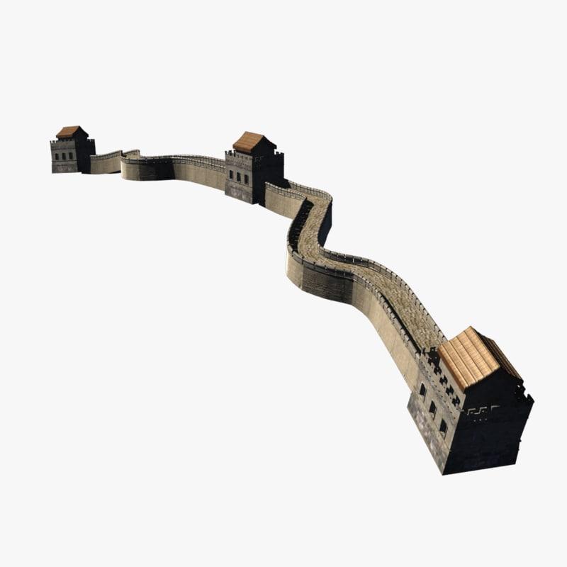 3d model china wall wonder